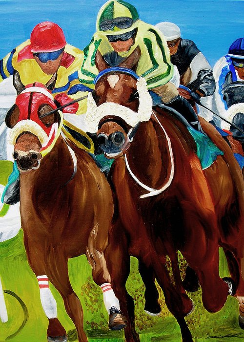 Horse Racing Greeting Card featuring the painting Rounding The Bend by Michael Lee