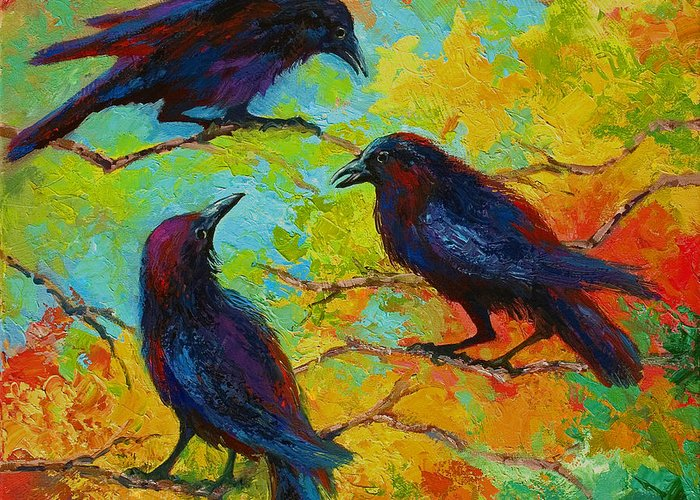 Crows Paintings Greeting Cards
