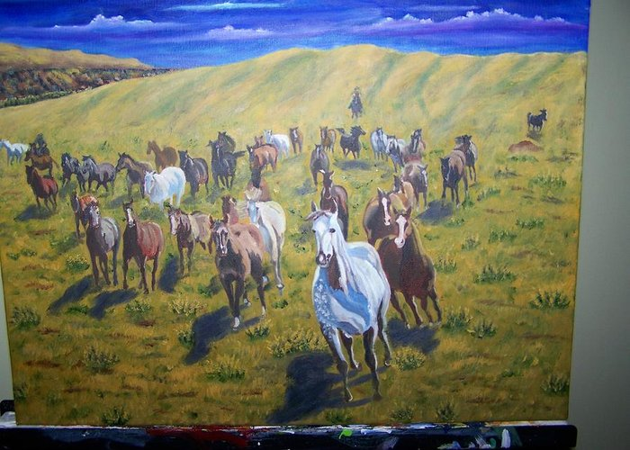 Horses Greeting Card featuring the painting Roundup by Charles Vaughn