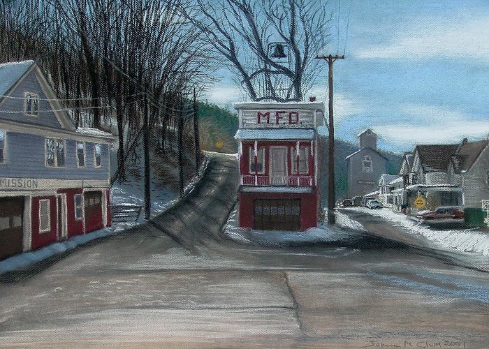 Firehouse Greeting Card featuring the painting Route 6 Meshoppen Pa by John Clum