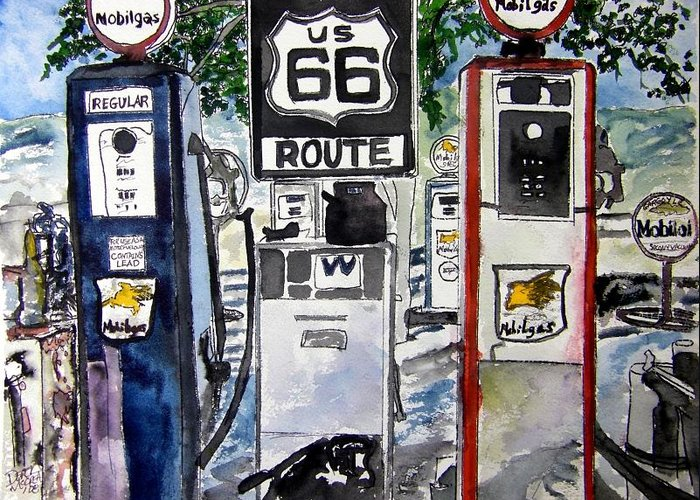 Route 66 Greeting Card featuring the painting Route 66 by Derek Mccrea