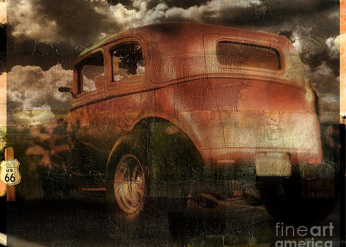 Rusted Cars Paintings Greeting Cards