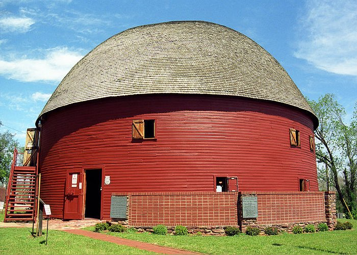 66 Greeting Card featuring the photograph Route 66 - Round Barn by Frank Romeo
