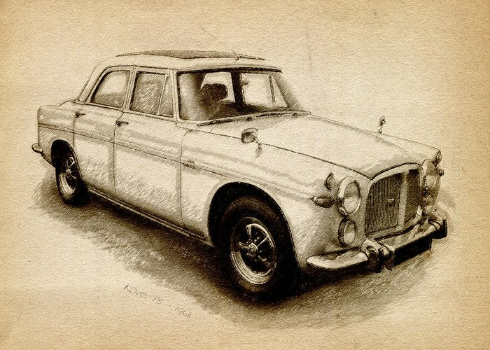Rover P5 Greeting Card featuring the drawing Rover P5 1968 by Michael Tompsett