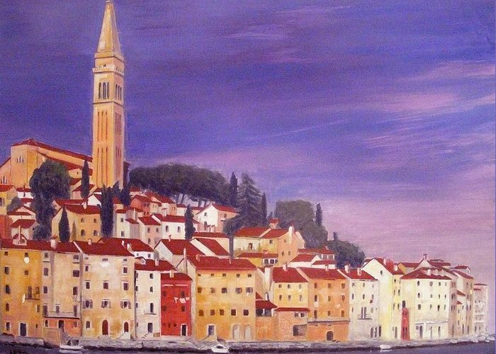 Rovigno Greeting Card featuring the painting Rovinj by Anthony Meton