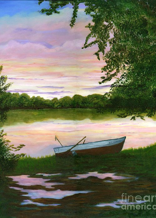 Row Boat Painting Greeting Card featuring the painting Row Boat Painting by Judy Filarecki