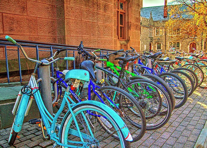 Recent Greeting Card featuring the photograph Row Of Student Bikes At Princeton University Nj by Geraldine Scull