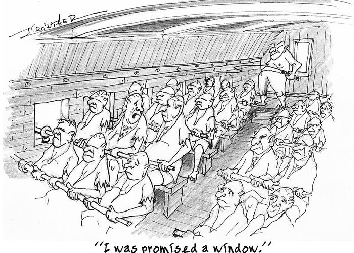 Humor Greeting Card featuring the drawing Row Row Row by John Crowther