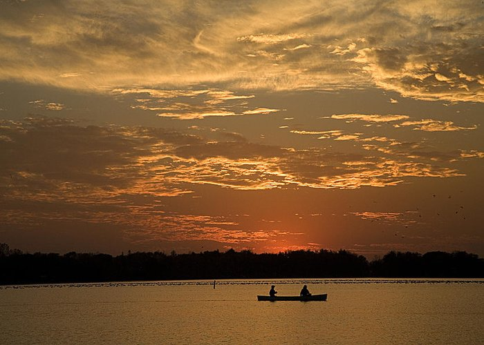 Canoe Greeting Card featuring the photograph Row Row Row Your Canoe by Theo Tan