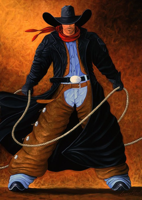 Cowgirl Greeting Card featuring the painting Rowdy by Lance Headlee