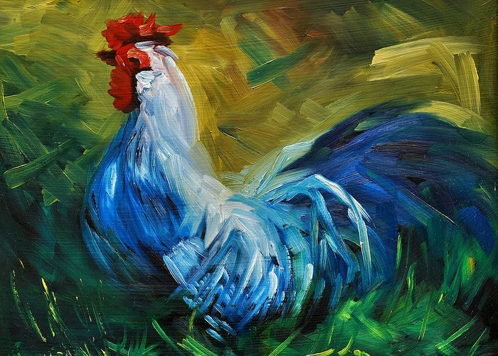 Rooster Greeting Card featuring the painting Rowdy Rooster by Diane Whitehead