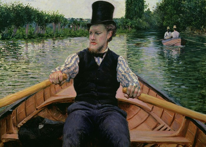 Gustave Caillebotte Greeting Card featuring the painting Rower In A Top Hat by Gustave Caillebotte
