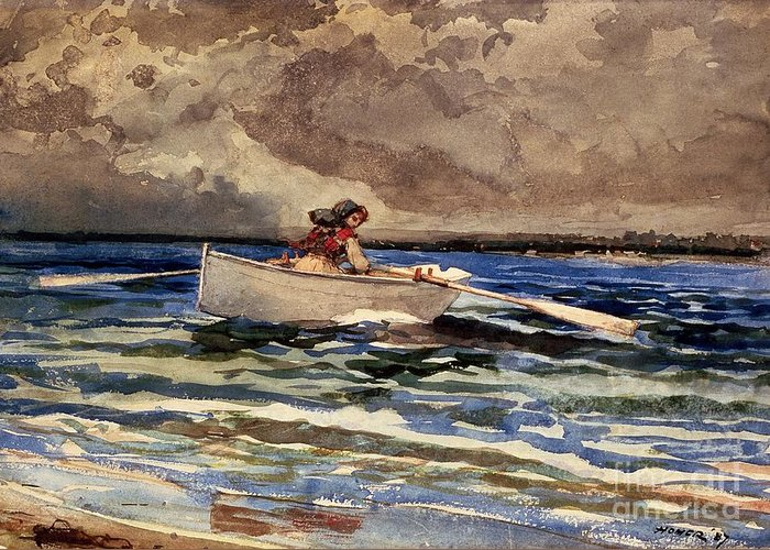 Boat Greeting Card featuring the painting Rowing At Prouts Neck by Winslow Homer