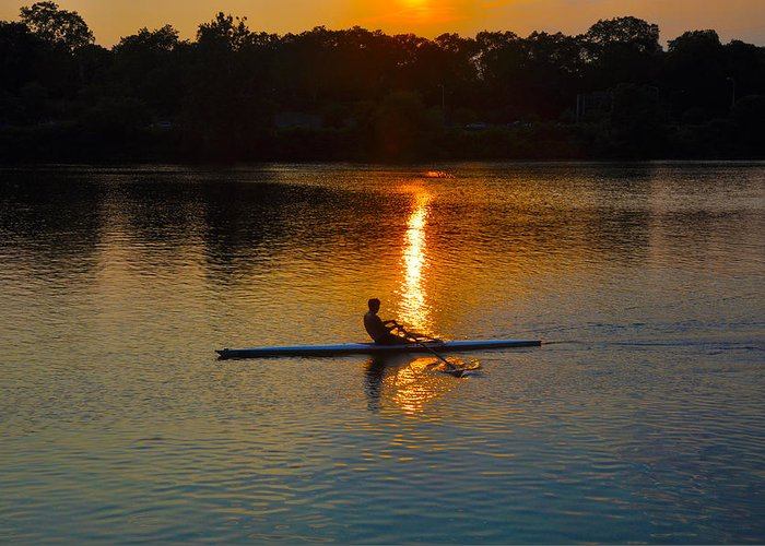 Philadelphia Greeting Card featuring the photograph Rowing At Sunset 2 by Bill Cannon