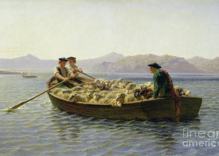 Rowing-boat Greeting Card featuring the painting Rowing Boat by Rosa Bonheur