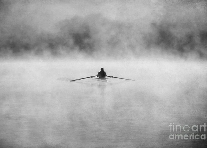 Action Greeting Card featuring the photograph Rowing On The Chattahoochee by Darren Fisher