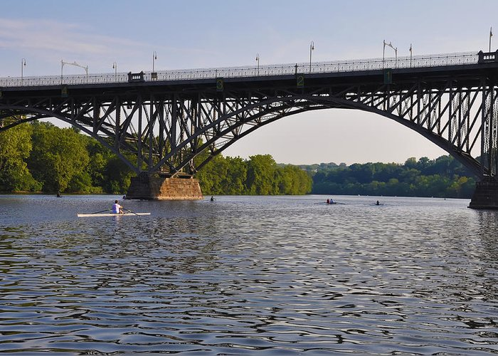 Rowing Greeting Card featuring the photograph Rowing Under The Strawberry Mansion Bridge by Bill Cannon