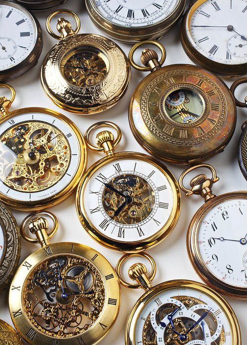 Time Greeting Card featuring the photograph Rows Of Pocket Watches by Garry Gay