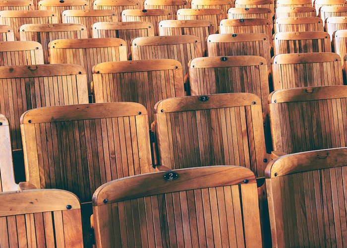 Lecture Hall Greeting Card featuring the photograph Rows Of Seats by Todd Klassy
