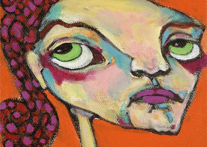 Circle Head Art Greeting Card featuring the painting Roxie Box by Michelle Spiziri