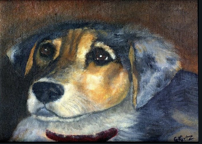 Dog Greeting Card featuring the painting Roxie by Gail Kirtz
