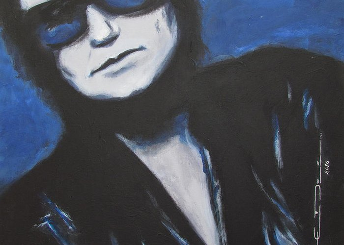 Celebrity Portrait Greeting Card featuring the painting Roy Orbison In Beautiful Dreams - Forever by Eric Dee
