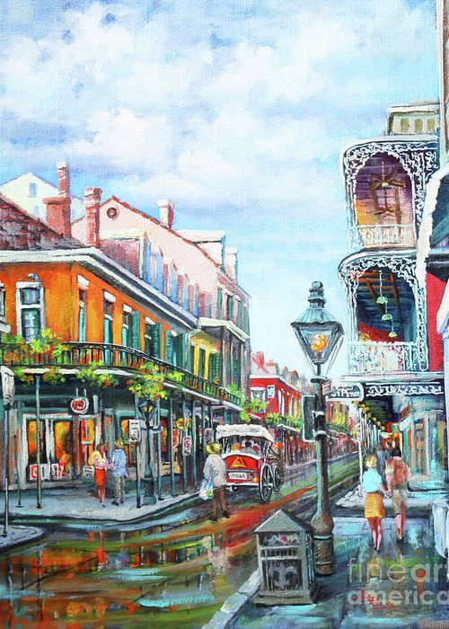 New Orleans Greeting Card featuring the painting Royal Balconies by Dianne Parks