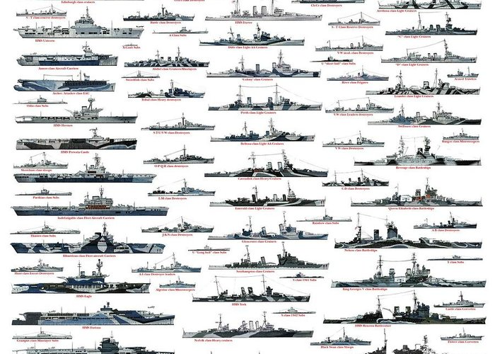 Royal Navy Greeting Card featuring the drawing Royal Navy ww2 by The collectioner