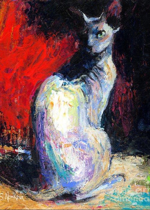 Sphynx Cat Art Greeting Card featuring the painting Royal Sphynx Cat Painting by Svetlana Novikova