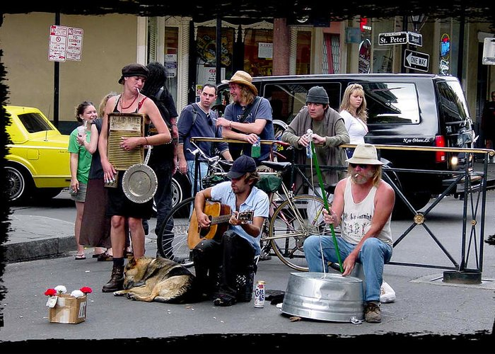 New Orleans Greeting Card featuring the photograph Royal Street Musicians by Linda Kish