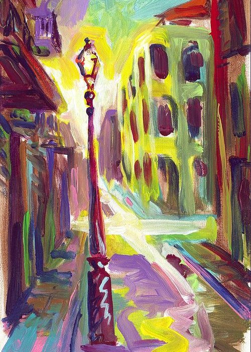 Royal Street Greeting Card featuring the painting Royal Street New Orleans by Saundra Bolen Samuel