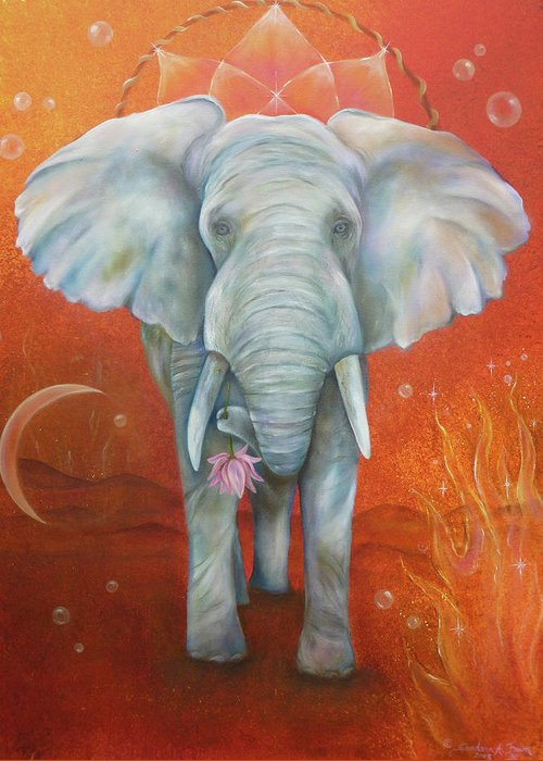 White Elephant Greeting Card featuring the painting Royal White Elephant by Sundara Fawn