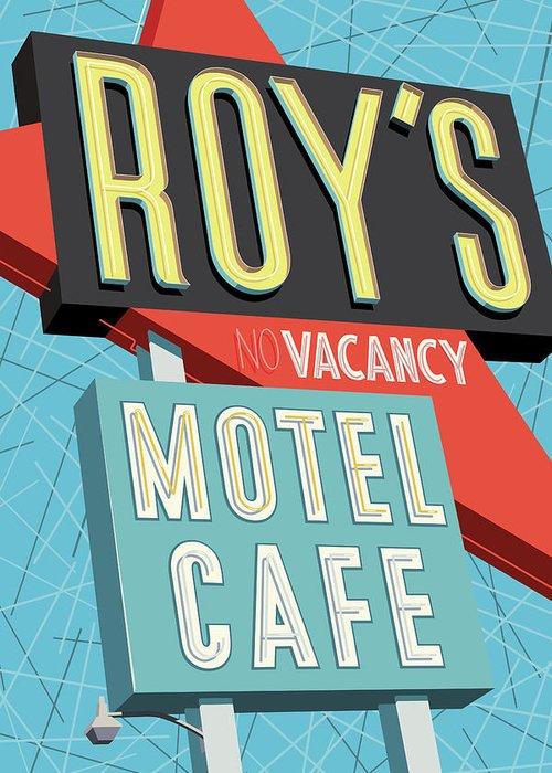 Pop Art Greeting Card featuring the digital art Roy's Motel Cafe Pop Art by Jim Zahniser