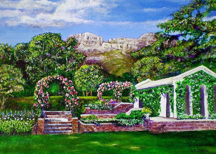 Landscape Greeting Card featuring the painting Rozannes Garden by Michael Durst