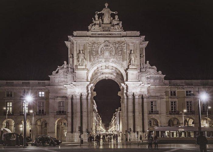 Joan Carroll Greeting Card featuring the photograph Rua Agusta Arch Lisbon Textured II by Joan Carroll