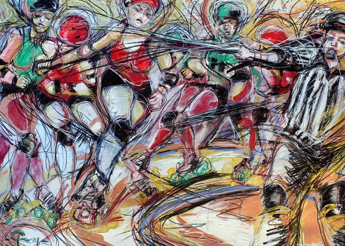 Roller Derby Greeting Card featuring the mixed media Rubber City Roller Girls by Terry Brown