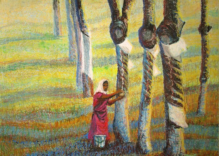 India Greeting Card featuring the painting Rubber Tapping At Dawn by Art Nomad Sandra Hansen