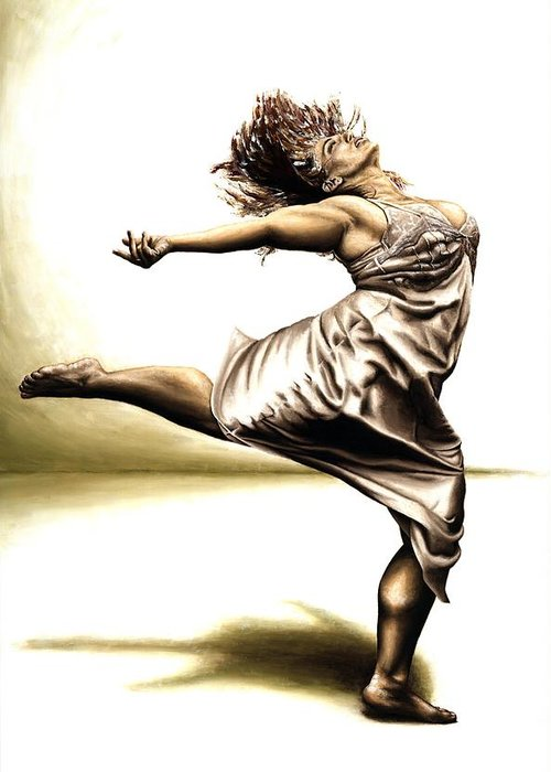 Rubins Greeting Card featuring the painting Rubinesque Dancer by Richard Young
