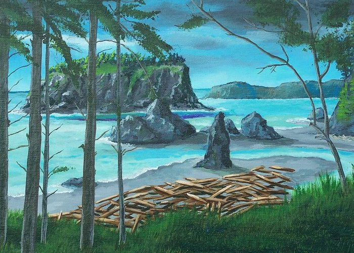 Stormy Ocean Greeting Card featuring the painting Ruby Beach by Gene Ritchhart
