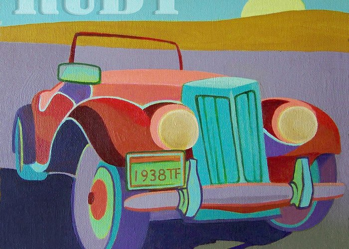 Ford Greeting Card featuring the digital art Ruby Ford Roadster by Evie Cook