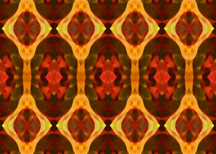 Abstract Greeting Card featuring the painting Ruby Glow Pattern by Amy Vangsgard
