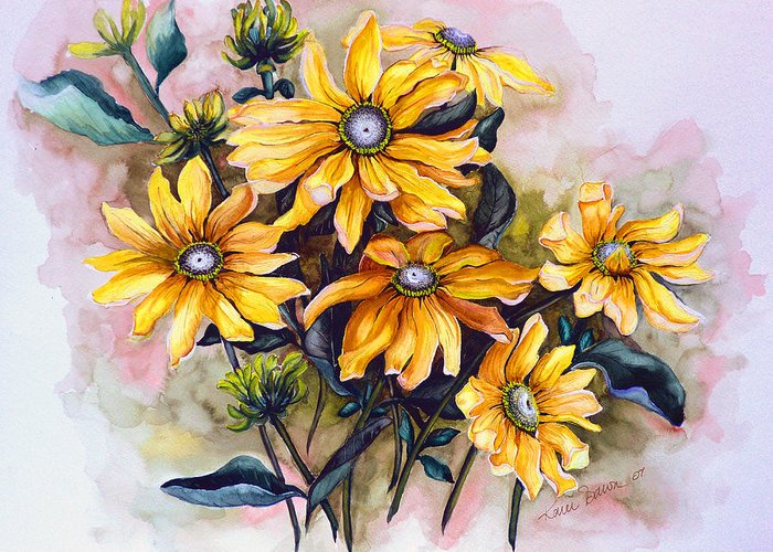 Flower Painting Sun Flower Painting Flower Botanical Painting  Original Watercolor Painting Rudebeckia Painting Floral Painting Yellow Painting Greeting Card Painting Greeting Card featuring the painting Rudbeckia Prairie Sun by Karin Dawn Kelshall- Best
