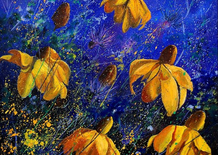 Poppies Greeting Card featuring the painting Rudbeckia's by Pol Ledent