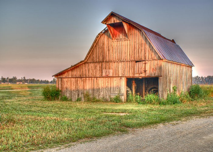 Barn Greeting Card featuring the photograph Ruddish Barn At Dawn by Douglas Barnett