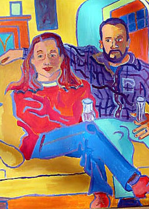 Portraits Greeting Card featuring the painting Rudy And Molly by Debra Bretton Robinson