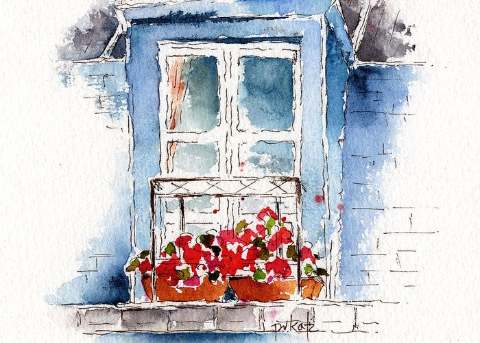 Rue Bernardine Greeting Card featuring the painting Rue Bernardine Window by Pat Katz