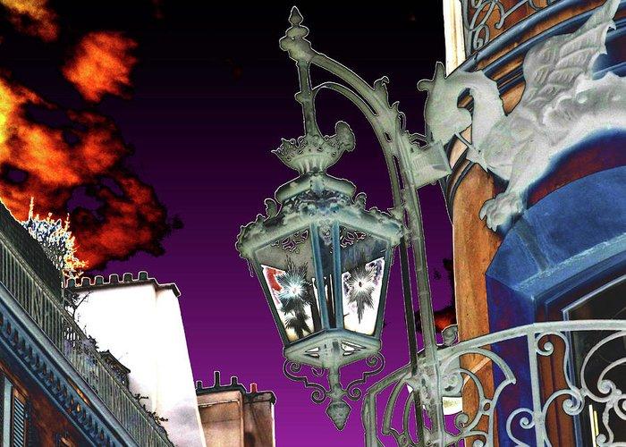 Rue Du Dragon Greeting Card featuring the digital art Rue Du Dragon by Marc Dettloff