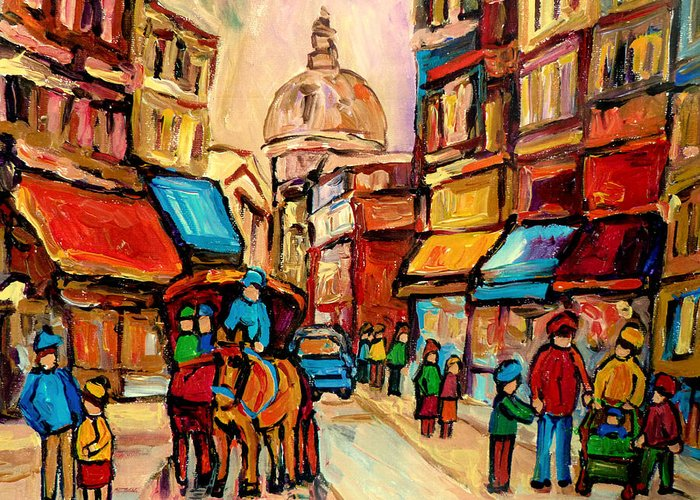 Montreal Greeting Card featuring the painting Rue St. Paul Old Montreal Streetscene by Carole Spandau