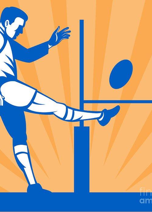 Illustration Greeting Card featuring the digital art Rugby Goal Kick by Aloysius Patrimonio