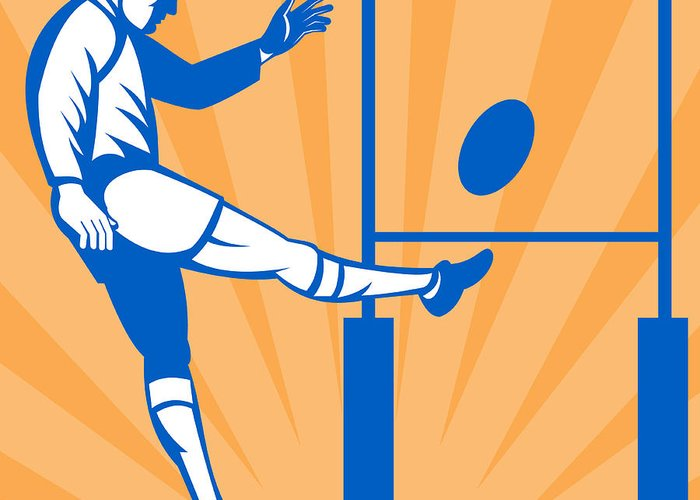 Illustration Greeting Card featuring the digital art Rugby Goal Kick by Aloysius Patrimonio